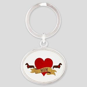 Dachshund [Doxie] Mom Oval Keychain